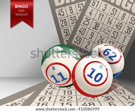 Bingo Background with Balls and Cards.Bingo  Vector Illustration. Bingo Lottery composition. Vector casino bingo illustration. Bingo design with bingo balls and cards. - stock vector