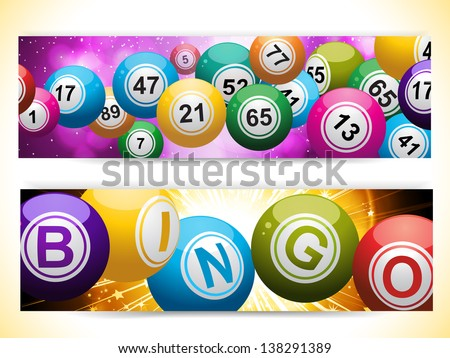 Bingo Ball Banners on Purple and Gold Glowing Backgrounds - stock vector