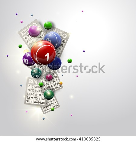 Bingo Balls and Cards Design on a Glowing White Background. Abstract bingo balls and cards vector illustration background for casino designs. Bingo illustration. Bingo balls. Bingo game. Bingo night. - stock vector