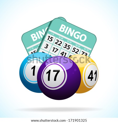Bingo balls and cards floating on a white background