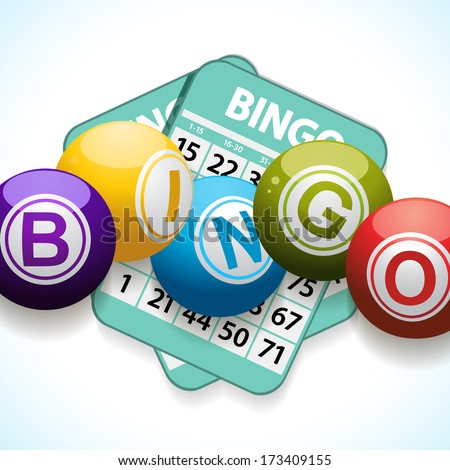 Bingo balls and cards on a white and blue background - stock vector