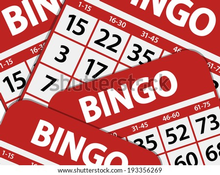 Bingo balls on a Background of Cards - stock vector