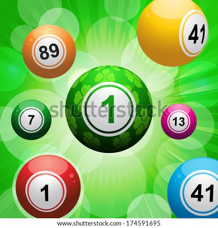 Bingo balls on a green starburst background