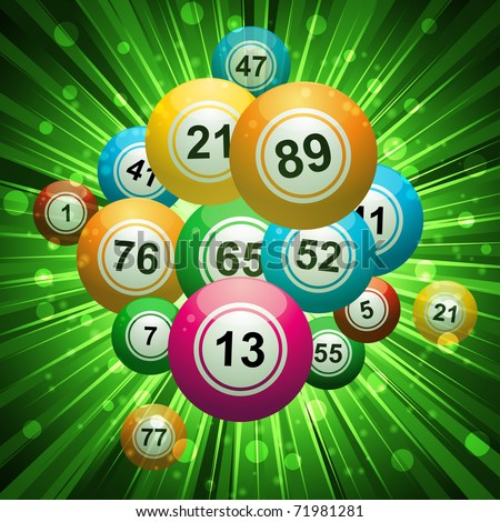 bingo balls on an exploding green background - stock vector