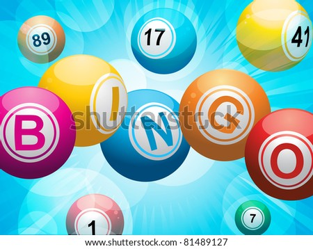 Bingo balls spelling the word 'bingo' on a glowing blue background - stock vector