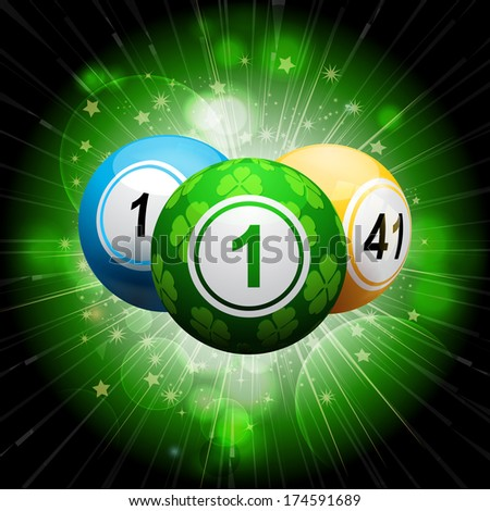 Bingo balls with green lucky clover ball on an exploding green background
