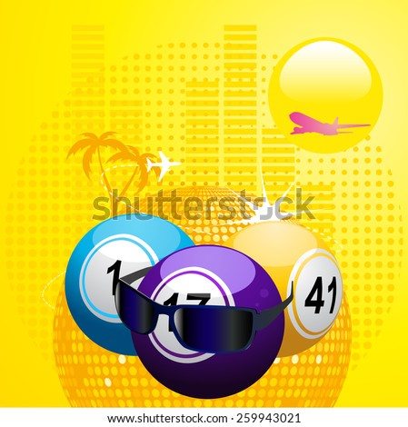 Bingo Balls with Sunglasses on Abstract Summer Background - stock vector
