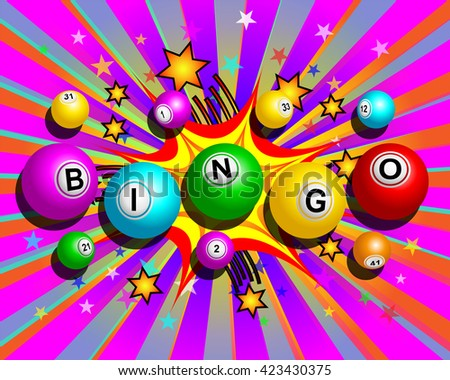 Bingo balls word on colorful cartoon exploding background - stock vector