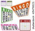 Bingo card set isolated on a white background. - stock vector