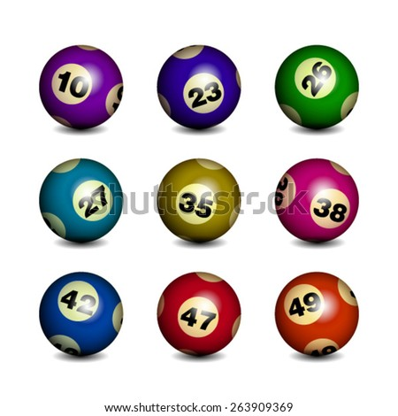 Bingo / Lottery Balls Isolated over white - stock vector
