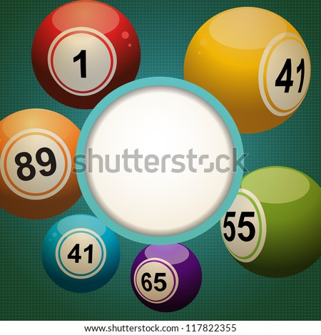 Bingo lottery balls on a retro style background