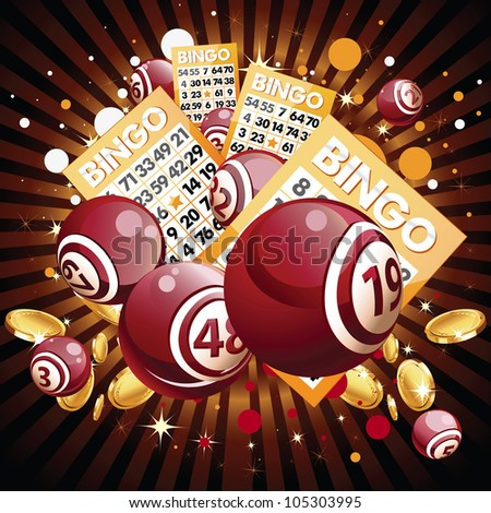 Bingo or lottery balls and cards on shiny background - stock vector
