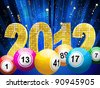 bingo or lottery balls with 3f sparkling 2012 and streamers on a blue star burst background - stock photo