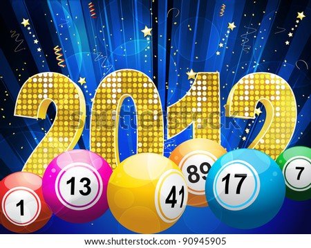 bingo or lottery balls with 3f sparkling 2012 and streamers on a blue star burst background - stock vector