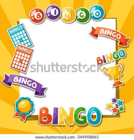Bingo or lottery game background with balls and cards. - stock vector