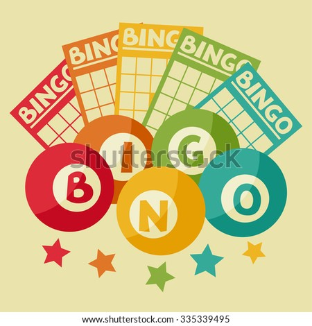 Bingo or lottery retro game illustration with balls and cards. - stock vector
