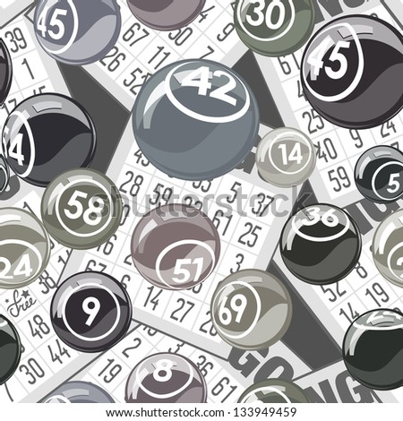 Bingo seamless background with balls and cards - stock vector