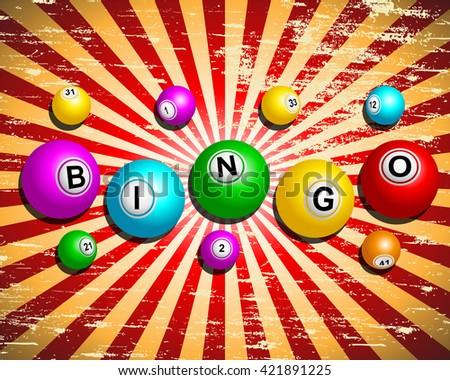 Bingo word on bingo balls against grungy vintage background - stock vector