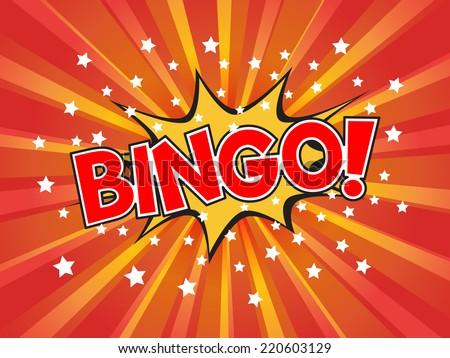Bingo, wording in comic speech bubble on burst background, EPS10 Vector Illustration - stock vector