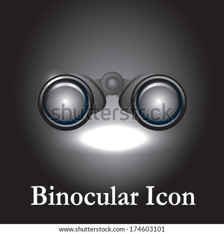 binocular on black background - stock vector
