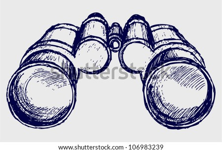 Binoculars sketch - stock vector