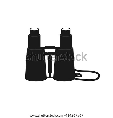 Binoculars zoom black flat web icon, website logo, illustrated a color image on an isolated background