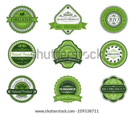 Bio and ecological labels set with embellishments in retro style. Jpeg version also available in gallery - stock vector