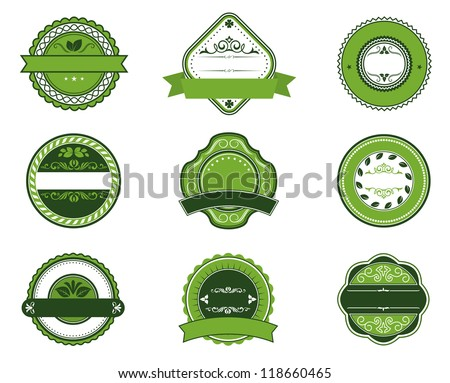 Bio and ecological labels set with embellishments in retro style, such a  template. Jpeg version also available in gallery - stock vector