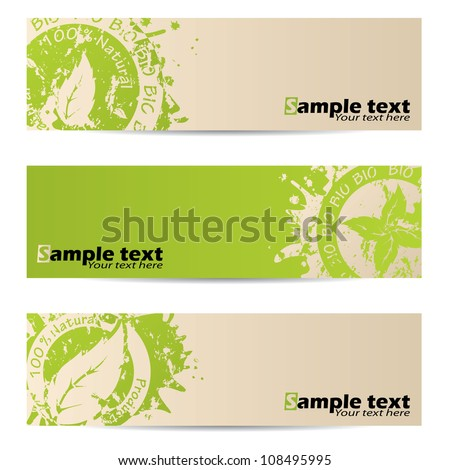 Bio banner set with leaf seal design - stock vector