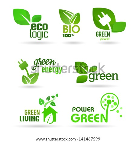 Bio - Ecology - Green icons set - stock vector
