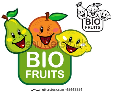 Bio Fruits Seal in color and B&W - stock vector