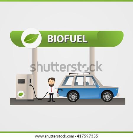 Bio fuel. Eco fuel petrol station. Green energy. Save the earth, ecology, alternative energy. Vector illustration. - stock vector