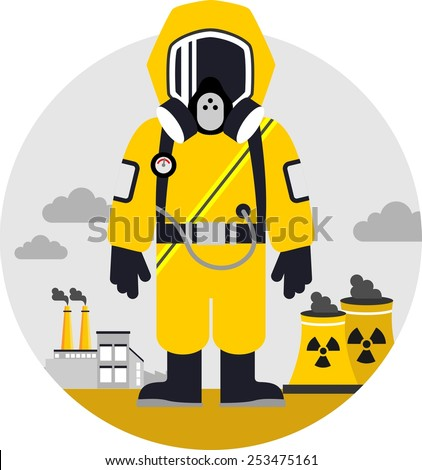 Bio hazard protection concept. Man in protective suit and gas mask on pollution background - stock vector
