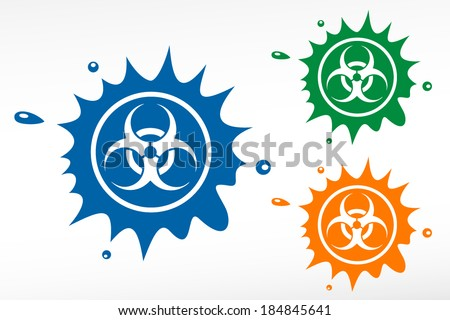 Bio hazard signs. Color blob - stock vector