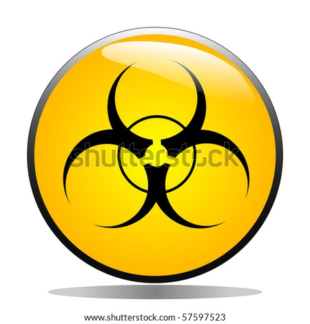 Bio-hazard symbol on a yellow button - stock vector