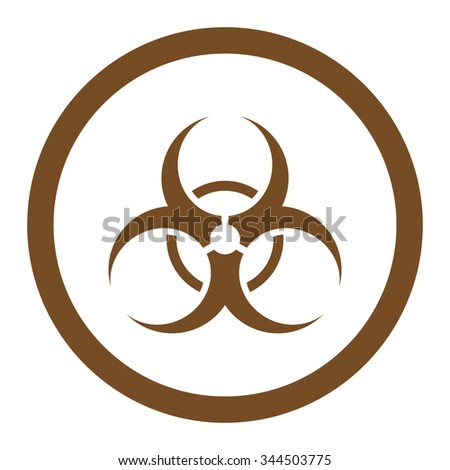 Bio Hazard vector icon. Style is flat rounded symbol, brown color, rounded angles, white background.
