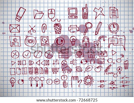 bio icons on old paper background - stock vector
