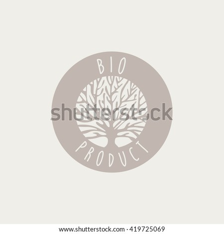 Bio Product Label Cool Flat Vector Hand Drawn Light Shade Design Template On White Background - stock vector