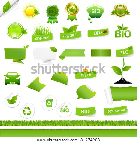 Bio Signs Set, Isolated On White Background, Vector Illustration - stock vector