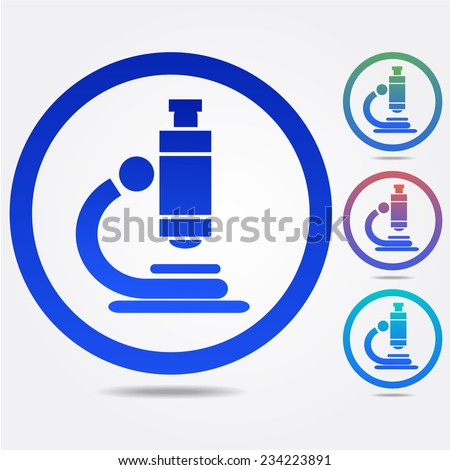 Biochemistry and microbiology equipment. Microscope icons - stock vector