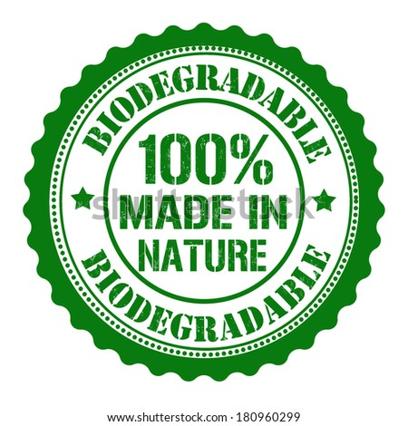 Biodegradable, made by nature rubber stamp on white, vector illustration - stock vector