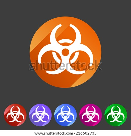 Biohazard flat icon badge - stock vector
