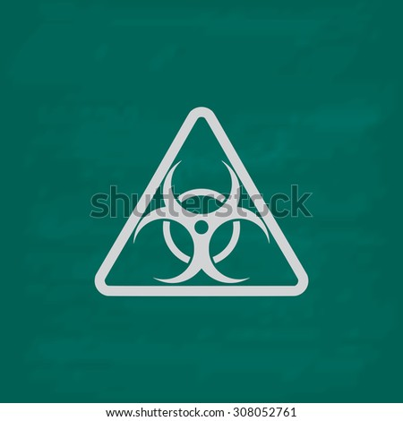 Biohazard. Icon. Imitation draw with white chalk on green chalkboard. Flat Pictogram and School board background. Vector illustration symbol - stock vector