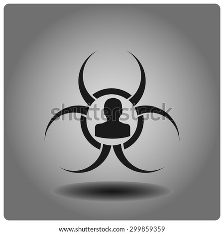 Biohazard icon, vector illustration. Flat design style. - stock vector