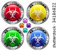 Biohazard or flu spread on round colorful vector buttons suitable for use on websites, in print materials or in advertisements.  Set include red, yellow, green, and blue versions. - stock photo