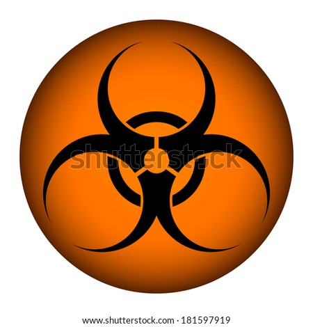 Biohazard orange circle icon on white background - stock vector