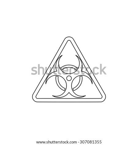 Biohazard. Outline black simple vector pictogram - stock vector