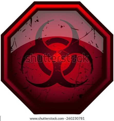 Biohazard Red Octagon Grunge Sign, Vector Illustration isolated on White Background.  - stock vector