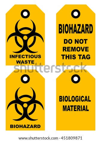 Biohazard symbol sign of biological threat alert, black yellow signage text, isolated - stock vector