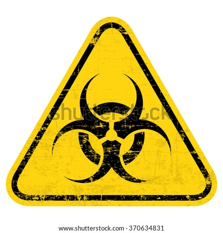 Biohazard symbol sign of biological threat alert. Grungy, worn style - stock vector